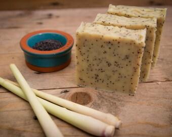 Lemongrass & Poppyseed Soap - Certified 100% Natural Pure Vegan Handmade Soap (Cold Process)