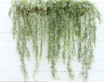 2pcs 1.2meter long Plastic Artificial Leaf Garland Plants--white