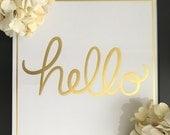 Hello - Framed Sign, Gold Home Decor, Gold Hello, Entryway Decor, Gallery Wall, Housewarming Gift, Dorm Decor