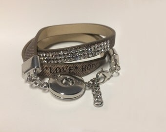 Snap Bracelet-Leather wrap bracelet single snap Brown Fits all 18mm Ginger Snap Buttons
