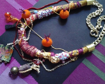 fabric necklace with golden chain