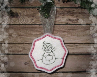 Felt Snow Girl Ornament in Pink