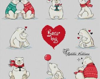 "Cross Stitch Pattern ""Bear Hug"""