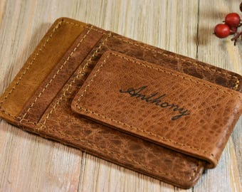 Leather Money Clip Wallet Personalized Minimalist Wallet Handmade Mens Wallet Valentines Gift Groomsmen Gifts Wallet Fast Shipping