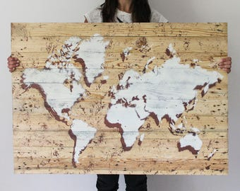 Picture WORLD 100x70 natural wood handmade with natural wood Handmade wooden pallets/WORLD MAP made of recycled wooden pallets