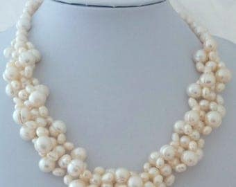 Freshwater White Pearl Woven Necklace