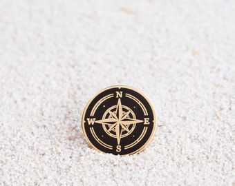 Compass Enamel Pin - Black