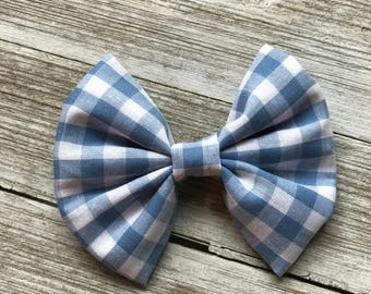 Summer blue plaid, bow, bow tie, toddler bow, baby bow