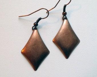 Long Copper Diamond Earrings  (E13-132)