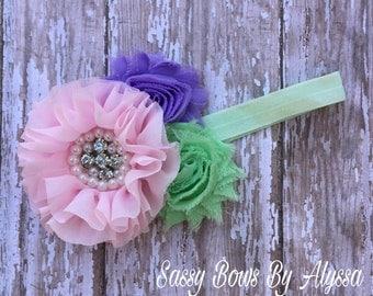 Shabby Chic Headband Baby Headband Bling Headband Toddler Headband Pink Mint And Purple Headband Ready To Ship