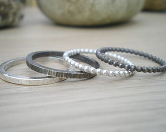 Textured sterling silver stacking rings - choose beaded or hammered, polished or oxidised - to fit with others in my stackable ring section.