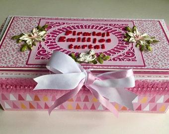 Baby girl memory box, Gift box, Baby shower box, Personalized keepsake box, Custom box, Personalized memory box, Baby girl shower box
