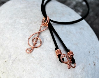 Treble Clef Necklace, Music Jewelry, Copper Necklace, Musician Jewelry Cord Necklace Music Gift for Him, Music Teacher Gift Musician DJ Gift