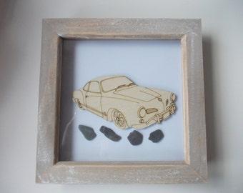 Karmann Ghia Picture -  Etched wood Karmann Ghia with Sea Slate in distressed wood frame