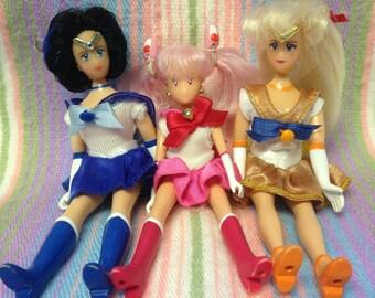 Vintage Sailor Moon 1995 Dolls ~Sailor Mercury, Sailor Venus and Sailor Chibi Moon~