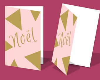 Greeting card for Christmas, folded, two parts, 10x15cm (4x6in.) - Pink and Gold - IN FRENCH