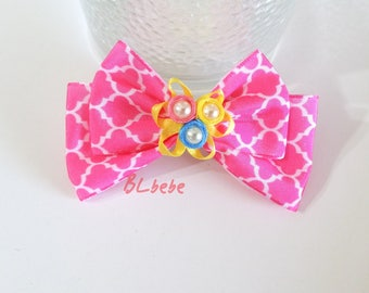 Baby Girl Pink Quatrefoil Pearl Double Bow Hair Clip