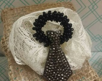 Fun And Lacy Suit and Tie Beaded Pendant