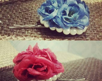 Small Red or Blue Rose Bouquet Hair Barret with Pearls