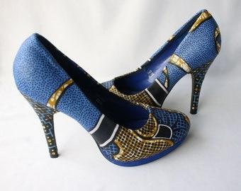 Blue Ankara Heels, Size 5