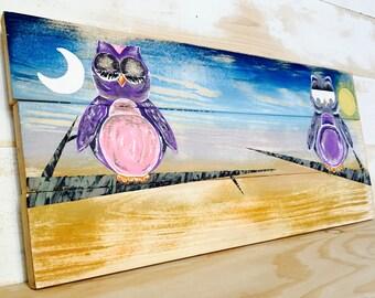 SALE,WOODLAND NURSERY Decor Woodland Owl Painting,Nursery Art,Rustic Nursery Decor,Woodland Animal Painting,Painting on Wood,Woodland
