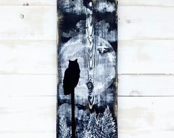 RUSTIC OWL PAINTING,Rustic Owl Art,Rustic Owl Wall Decor,Painting on Wood,Animal Art,Acrylic Owl Painting,Original Owl Painting,Owl