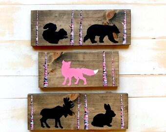 WOODLAND NURSERY DECOR,Woodland Animal Art,Woodland Nursery,Rustic Nursery Decor,Painting on Wood,Girl Nursery Wall Art,Woodland Nursery