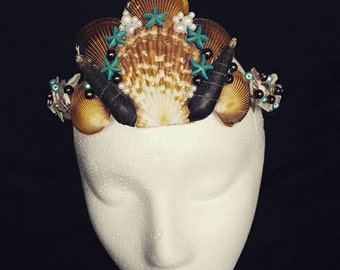 Turquoise Starfish and Pearl Mermaid Crown, Star Fish Crown, Festival Wear, Sea Shell Crown, Beach Crown, Brown and blue crown, Shells