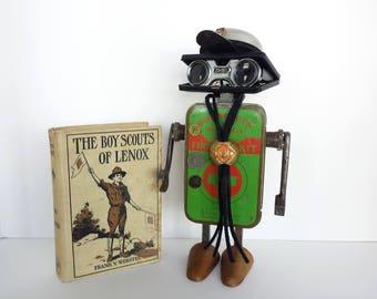 Boy Scout Found Object Robot Assemblage - Steampunk Sculpture - Repurposed Art - Junk Bot