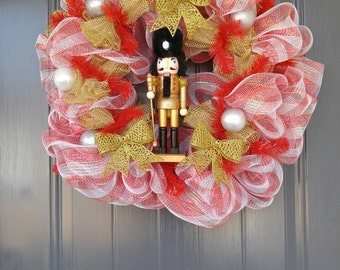 Toy Soldier Wreath, Christmas Wreath, Holiday Wreaths, Red Wreath, 24 inch Wreath