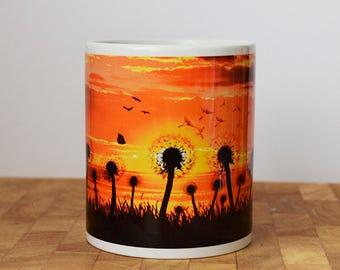 Dandelion Sunset Mug, Beautiful Sunset Mug, Full Wrap, Ceramic