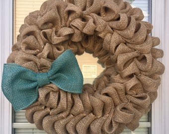 Burlap bubble wreath, 14 inch, classic burlap color with bow