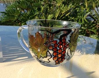 Hand Painted Glass Mug Mugs, Coffee Mug, Tea Mug, Holiday Mugs, Gift for Her, Custom mugs, Persanalized mugs, Unique Mug, Coffe mugs
