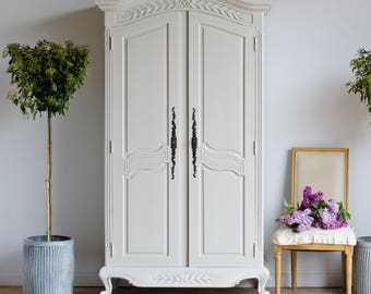 Vintage French Double Wardrobe Armoire with Shelves Painted in Farrow & Ball
