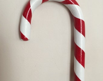 Red and White Striped Hand Painted Santa Candy Cane
