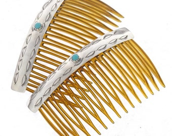 Turquoise Silver Hair Combs Set of Two Navajo Accessories