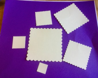 DIE CUTOUTS - Square Scallop Edge - Sturdy Card Stock - Set of six (6) in six sizes.