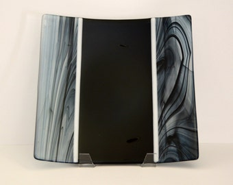 Black and White Fused Glass Plate, Fused Glass Square Plate
