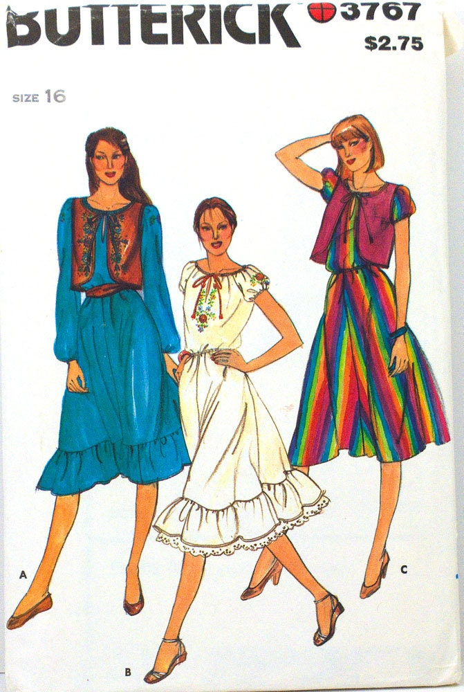 Early 1980s dress and bolero pattern Butterick 3767