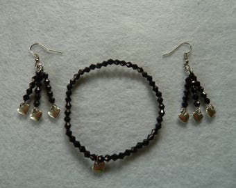 Earrings with black Bicone beads with matching bracelet