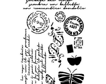 French Postcard - Background reuseable 190 micron Mylar Stencil - A5 - A4 - A3 - Free UK P & P
