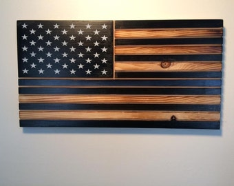 "Police thin blue line American flag 50 star wall art 11""x 21"" Police flag. Back our blue police flag."