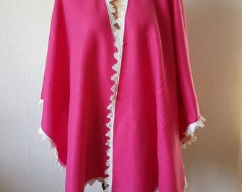 Wunderschöne Fleece Poncho Pink Gr. M, L, XL, XXL  Unikat  150643