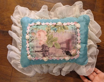 hand made vintage style decorative pillow