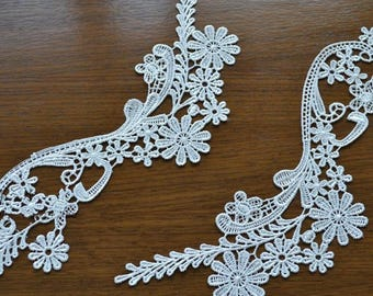 2PCs Bridal Lace Applique Solubility Trim Appliques in Off-White for Weddings, Sashes, Veils, Headpieces, WL737-diyrose