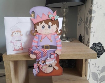 Girl elf with christmas sack on the shelf card and envelope