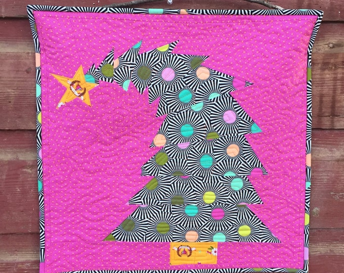 Featured listing image: The Crooked Christmas Tree Mini Quilt Pattern (PDF Download Version) Paper Piecing