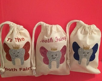 Child tooth fairy bag christmas stocking filler gift suprise glitter sparkly boy girl