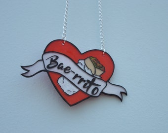 Burrito 'Bae-rrito' Heart Necklace