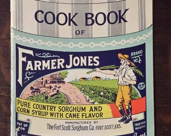 Vintage recipe booklet for Farmer Jones sorghum and corn syrup